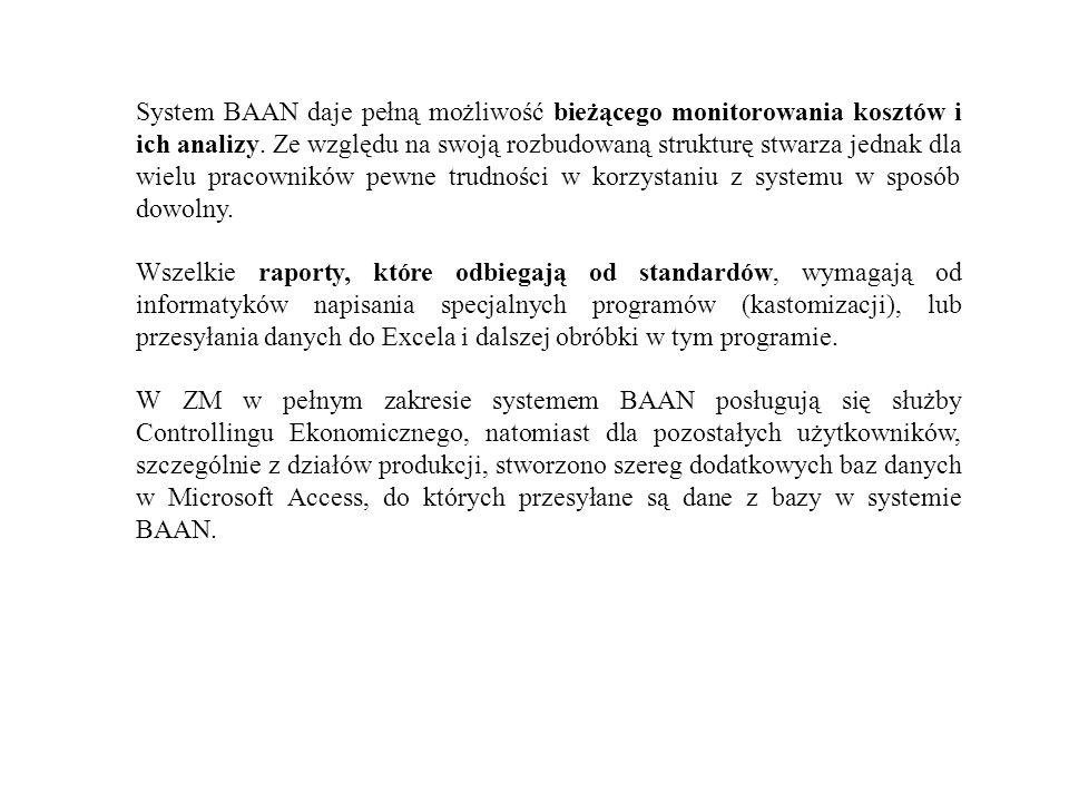 System BAAN daje pełną możliwość bieżącego monitorowania kosztów i ich analizy. Ze względu na swoją rozbudowaną strukturę stwarza jednak dla wielu pra