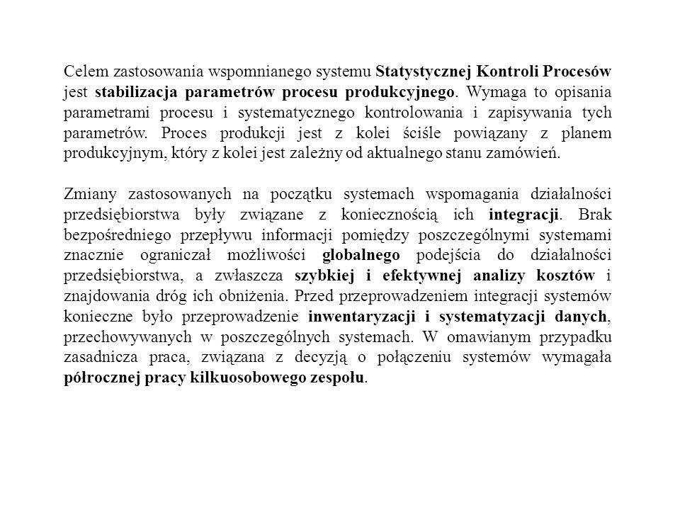 Celem zastosowania wspomnianego systemu Statystycznej Kontroli Procesów jest stabilizacja parametrów procesu produkcyjnego. Wymaga to opisania paramet