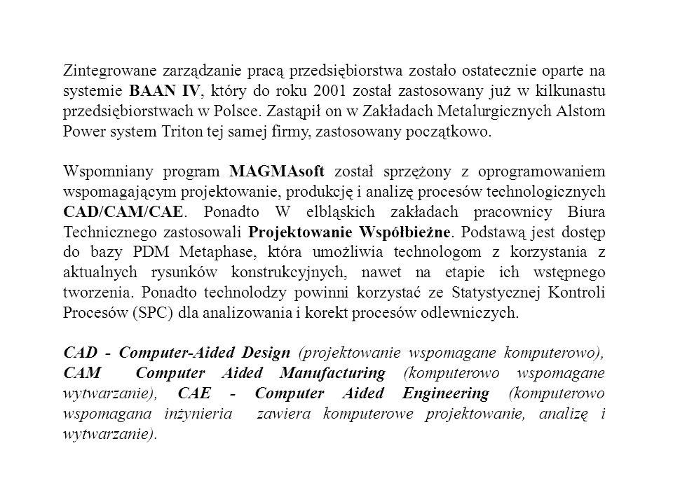 Zintegrowane zarządzanie pracą przedsiębiorstwa zostało ostatecznie oparte na systemie BAAN IV, który do roku 2001 został zastosowany już w kilkunastu