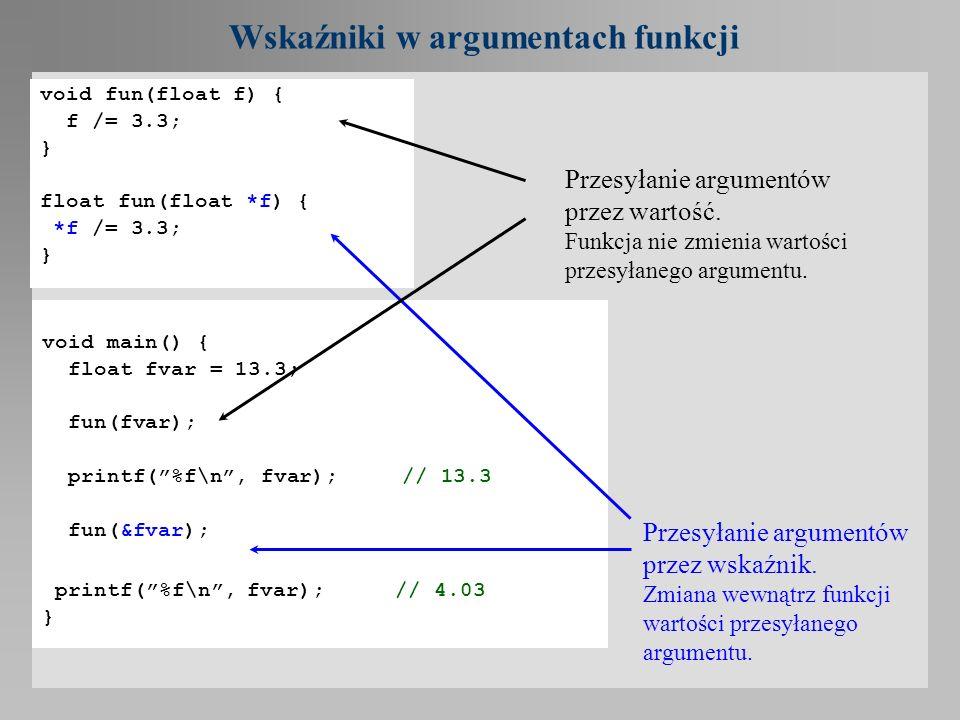 Wskaźniki w argumentach funkcji void fun(float f) { f /= 3.3; } float fun(float *f) { *f /= 3.3; } void main() { float fvar = 13.3; fun(fvar); printf(