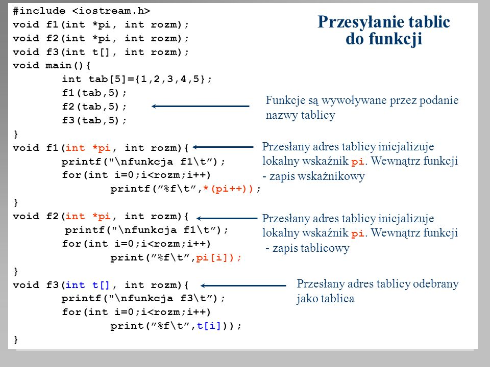 #include void f1(int *pi, int rozm); void f2(int *pi, int rozm); void f3(int t[], int rozm); void main(){ int tab[5]={1,2,3,4,5}; f1(tab,5); f2(tab,5)