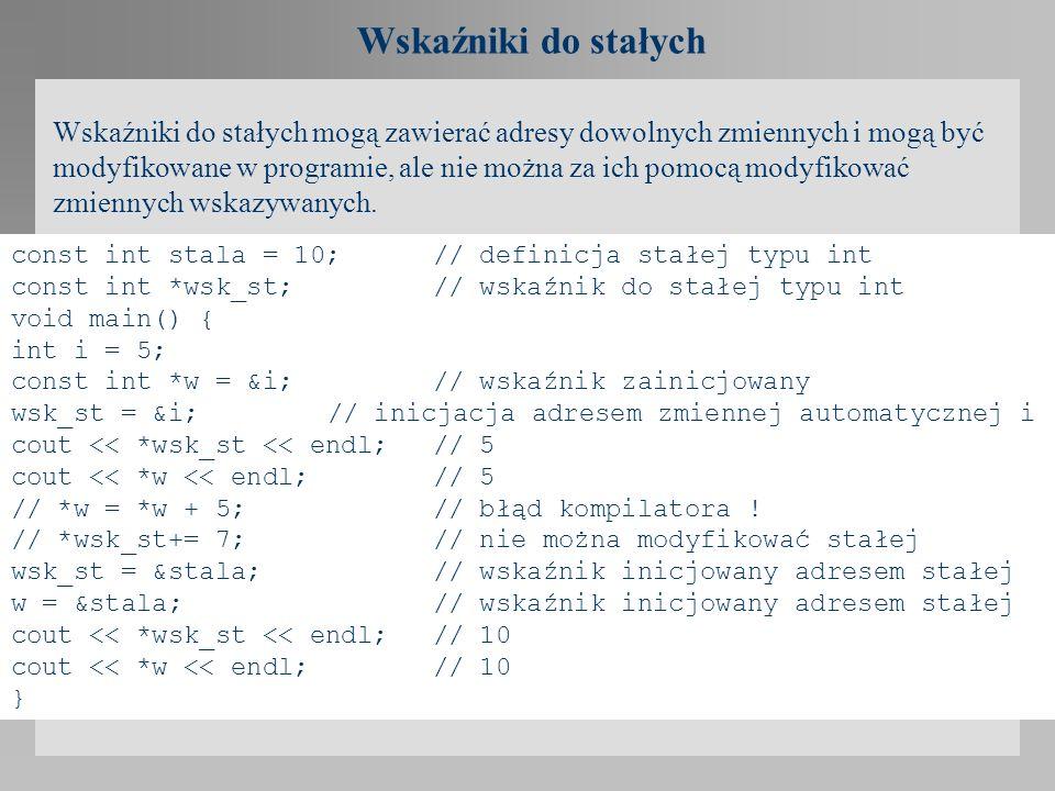 Wskaźniki do stałych Wskaźniki do stałych mogą zawierać adresy dowolnych zmiennych i mogą być modyfikowane w programie, ale nie można za ich pomocą mo