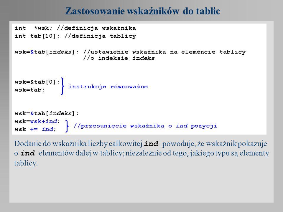 Zastosowanie wskaźników do tablic Przykład: #include void main(){ float *wf; float tab[10]; wf=tab; //lub wf=&tab[0]; for(int i=0; i<10; i++){ *(wf++)=i/10.0; } for(i=0,wf=tab;i<10;i++,wf++) printf(%f\n,*wf); }