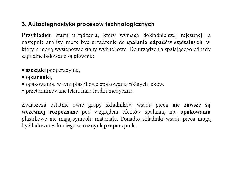 3. Autodiagnostyka procesów technologicznych Przykładem stanu urządzenia, który wymaga dokładniejszej rejestracji a następnie analizy, może być urządz