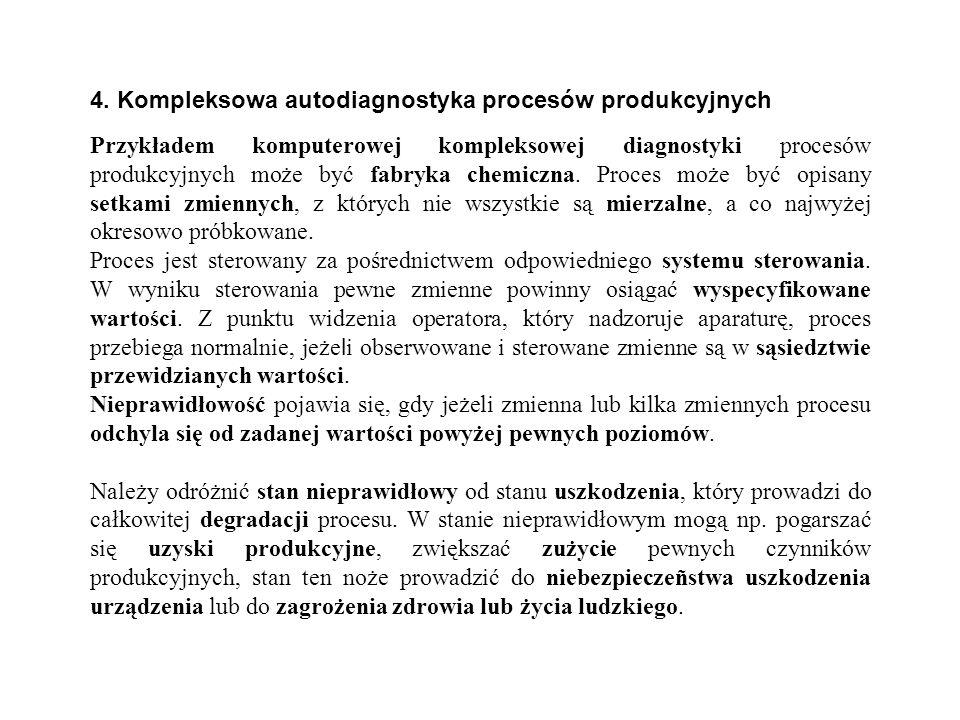 4. Kompleksowa autodiagnostyka procesów produkcyjnych Przykładem komputerowej kompleksowej diagnostyki procesów produkcyjnych może być fabryka chemicz
