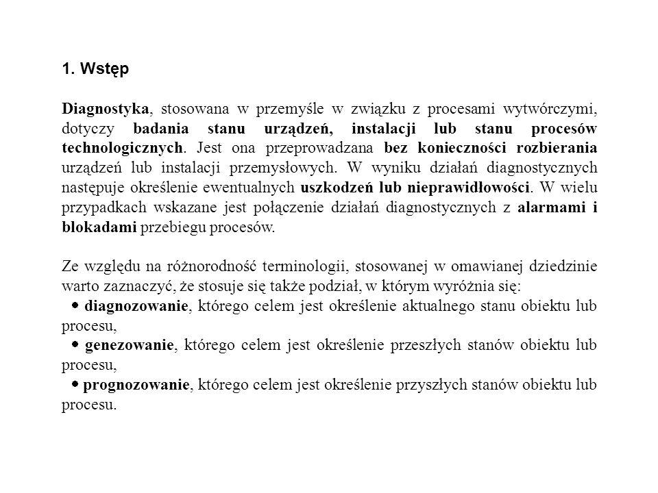1. Wstęp Diagnostyka, stosowana w przemyśle w związku z procesami wytwórczymi, dotyczy badania stanu urządzeń, instalacji lub stanu procesów technolog
