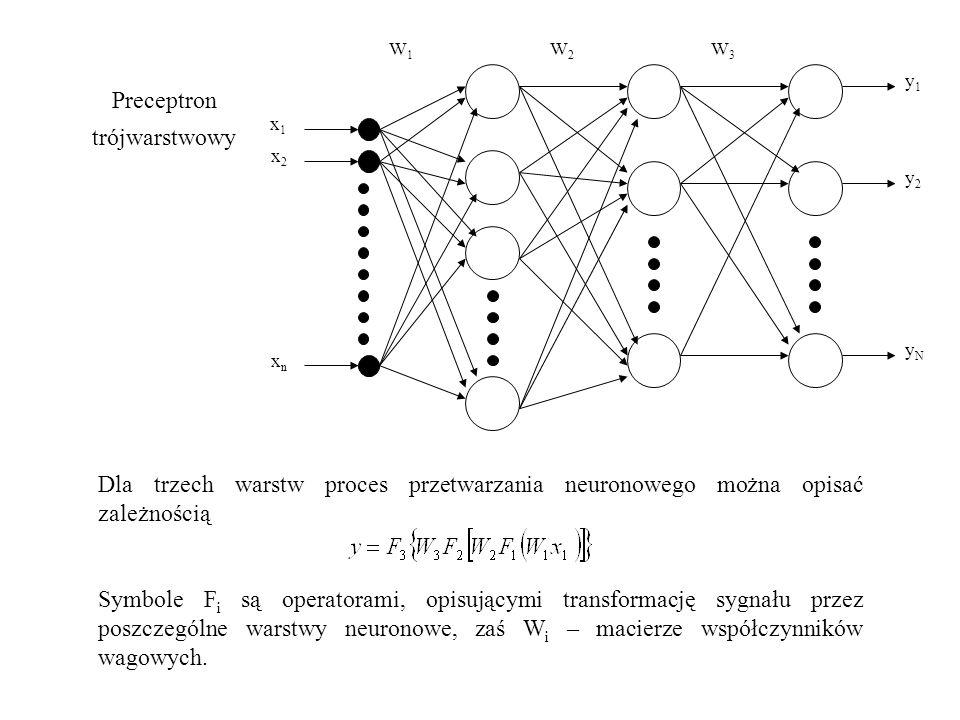 x1x1 x2x2 xnxn y1y1 y2y2 yNyN W1W1 W2W2 W3W3 Dla trzech warstw proces przetwarzania neuronowego można opisać zależnością Symbole F i są operatorami, opisującymi transformację sygnału przez poszczególne warstwy neuronowe, zaś W i – macierze współczynników wagowych.