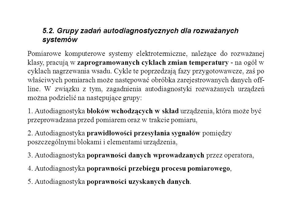 5.2. Grupy zadań autodiagnostycznych dla rozważanych systemów Pomiarowe komputerowe systemy elektrotermiczne, należące do rozważanej klasy, pracują w