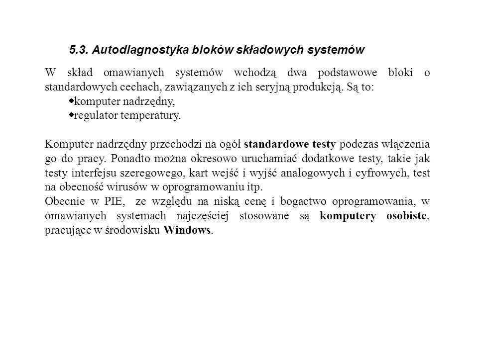 5.3. Autodiagnostyka bloków składowych systemów W skład omawianych systemów wchodzą dwa podstawowe bloki o standardowych cechach, zawiązanych z ich se