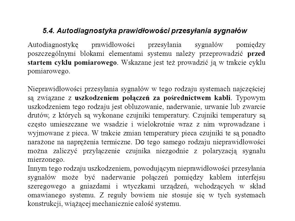 5.4. Autodiagnostyka prawidłowości przesyłania sygnałów Autodiagnostykę prawidłowości przesyłania sygnałów pomiędzy poszczególnymi blokami elementami