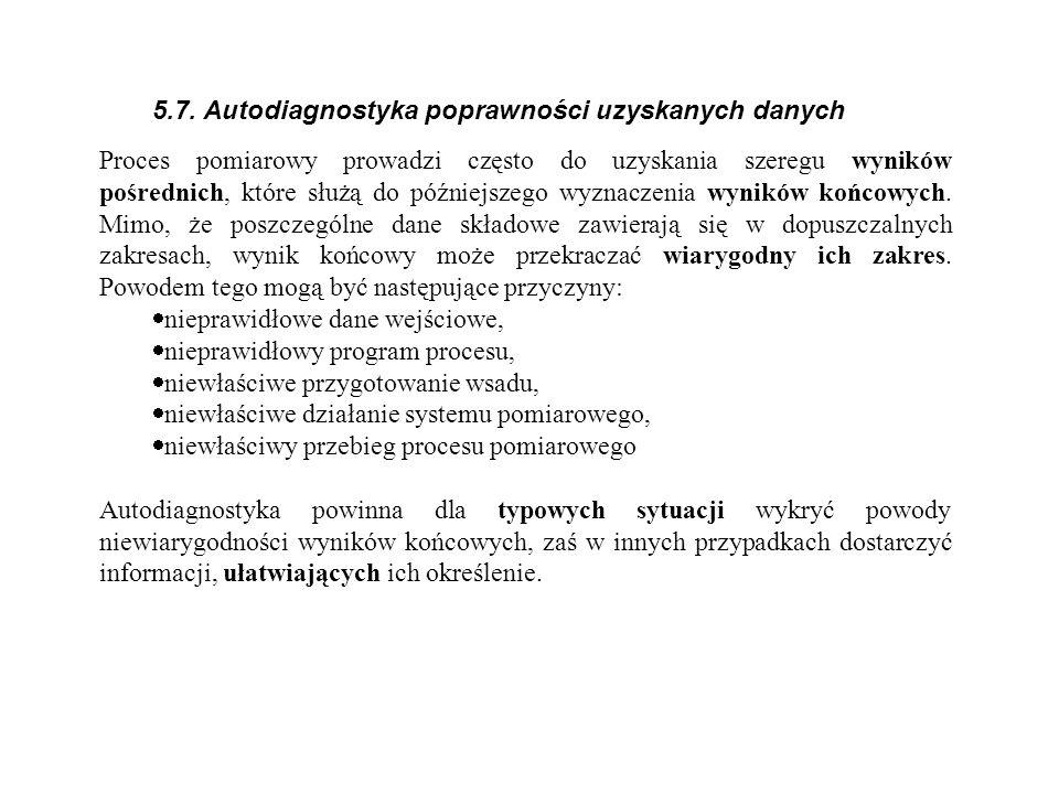 5.7. Autodiagnostyka poprawności uzyskanych danych Proces pomiarowy prowadzi często do uzyskania szeregu wyników pośrednich, które służą do późniejsze