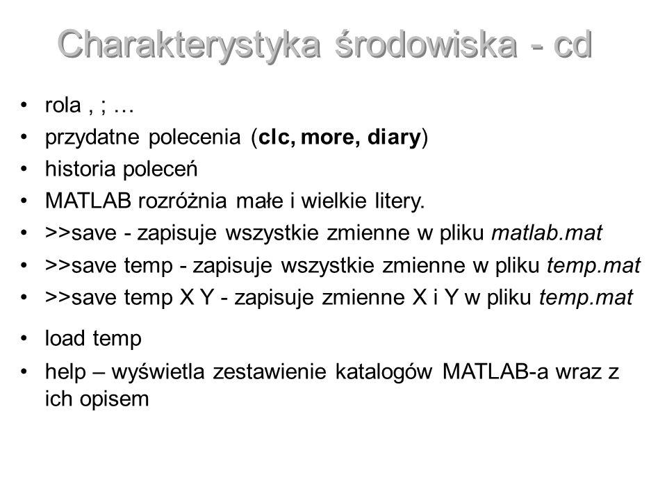 Charakterystyka środowiska - cd rola, ; … przydatne polecenia (clc, more, diary) historia poleceń MATLAB rozróżnia małe i wielkie litery. >>save - zap