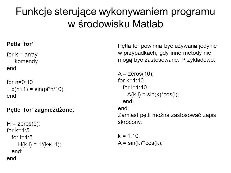 Funkcje sterujące wykonywaniem programu w środowisku Matlab Petla for for k = array komendy end; for n=0:10 x(n+1) = sin(pi*n/10); end; Pętle for zagn