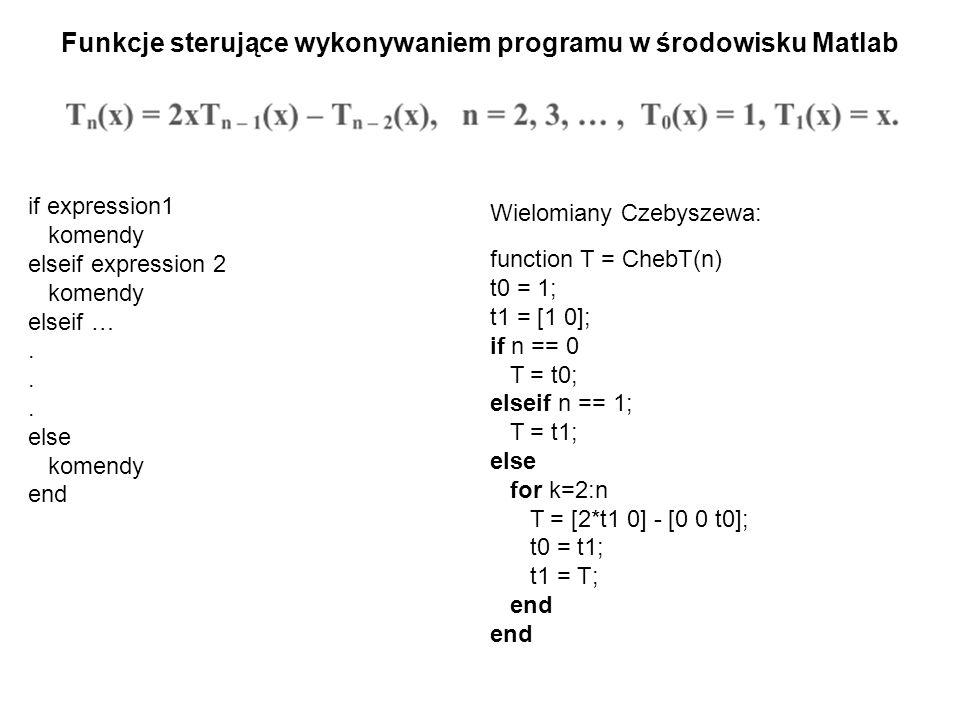 Funkcje sterujące wykonywaniem programu w środowisku Matlab if expression1 komendy elseif expression 2 komendy elseif …. else komendy end Wielomiany C