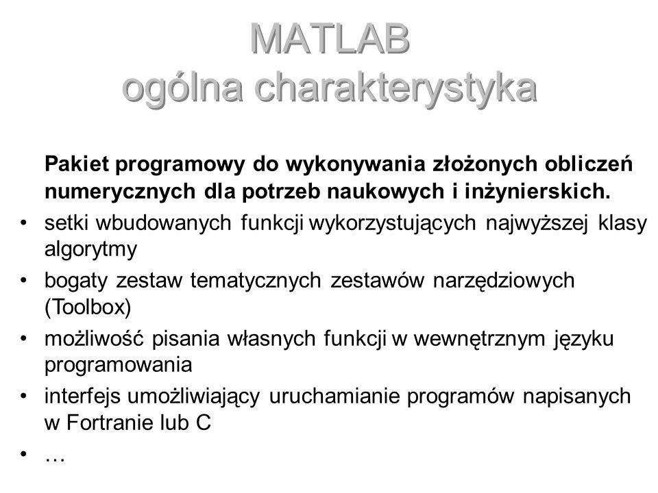 MATLAB ogólna charakterystyka Pakiet programowy do wykonywania złożonych obliczeń numerycznych dla potrzeb naukowych i inżynierskich. setki wbudowanyc