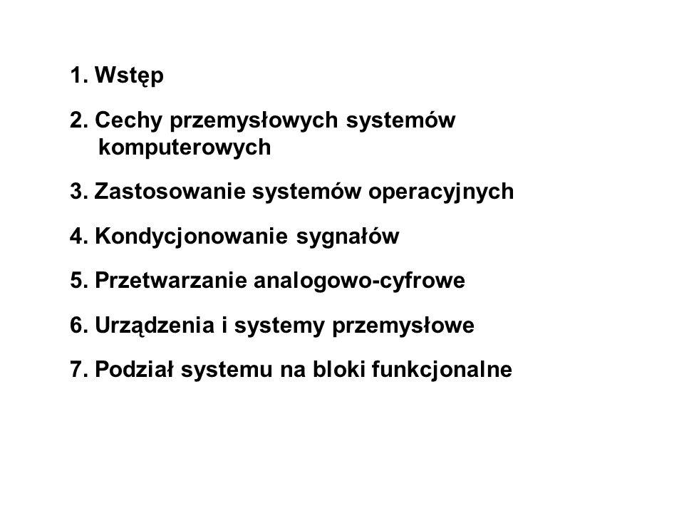1. Wstęp 2. Cechy przemysłowych systemów komputerowych 3. Zastosowanie systemów operacyjnych 4. Kondycjonowanie sygnałów 5. Przetwarzanie analogowo-cy
