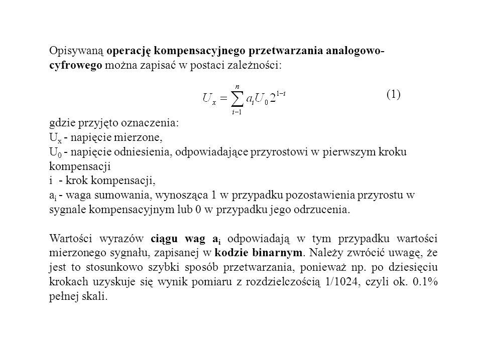 Opisywaną operację kompensacyjnego przetwarzania analogowo- cyfrowego można zapisać w postaci zależności: (1) gdzie przyjęto oznaczenia: U x - napięci