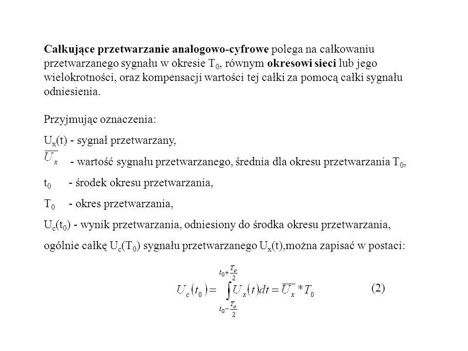 Całkujące przetwarzanie analogowo-cyfrowe polega na całkowaniu przetwarzanego sygnału w okresie T 0, równym okresowi sieci lub jego wielokrotności, or