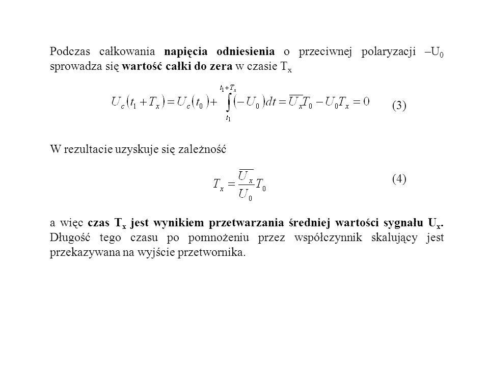 Podczas całkowania napięcia odniesienia o przeciwnej polaryzacji –U 0 sprowadza się wartość całki do zera w czasie T x (3) W rezultacie uzyskuje się z