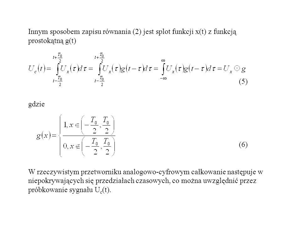 Innym sposobem zapisu równania (2) jest splot funkcji x(t) z funkcją prostokątną g(t) (5) gdzie (6) W rzeczywistym przetworniku analogowo-cyfrowym cał