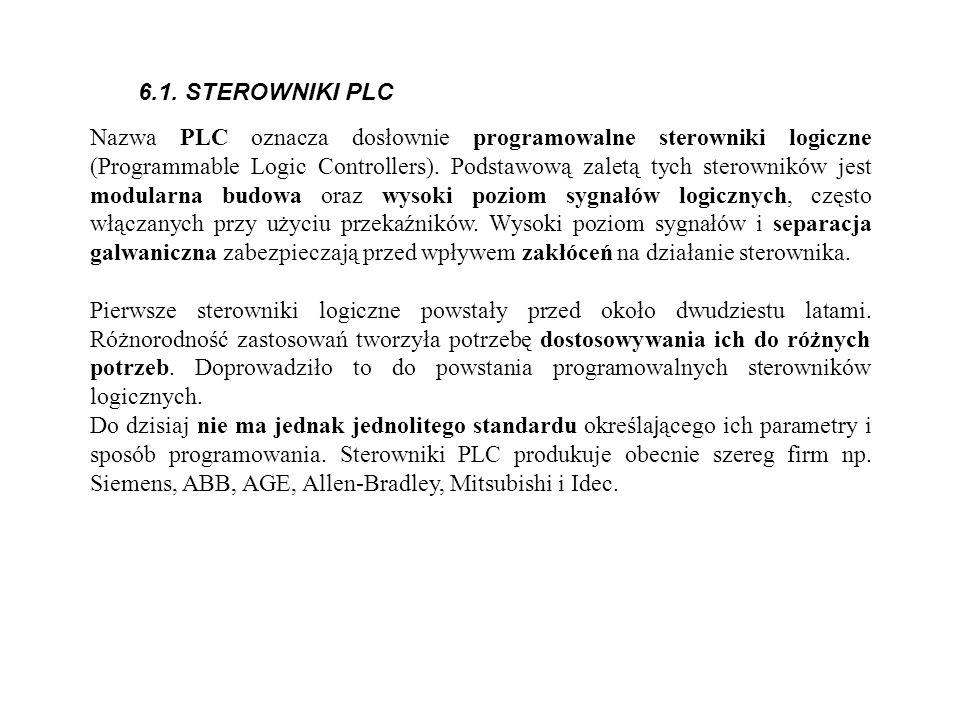 6.1. STEROWNIKI PLC Nazwa PLC oznacza dosłownie programowalne sterowniki logiczne (Programmable Logic Controllers). Podstawową zaletą tych sterowników