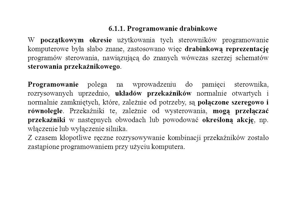 6.1.1. Programowanie drabinkowe W początkowym okresie użytkowania tych sterowników programowanie komputerowe była słabo znane, zastosowano więc drabin