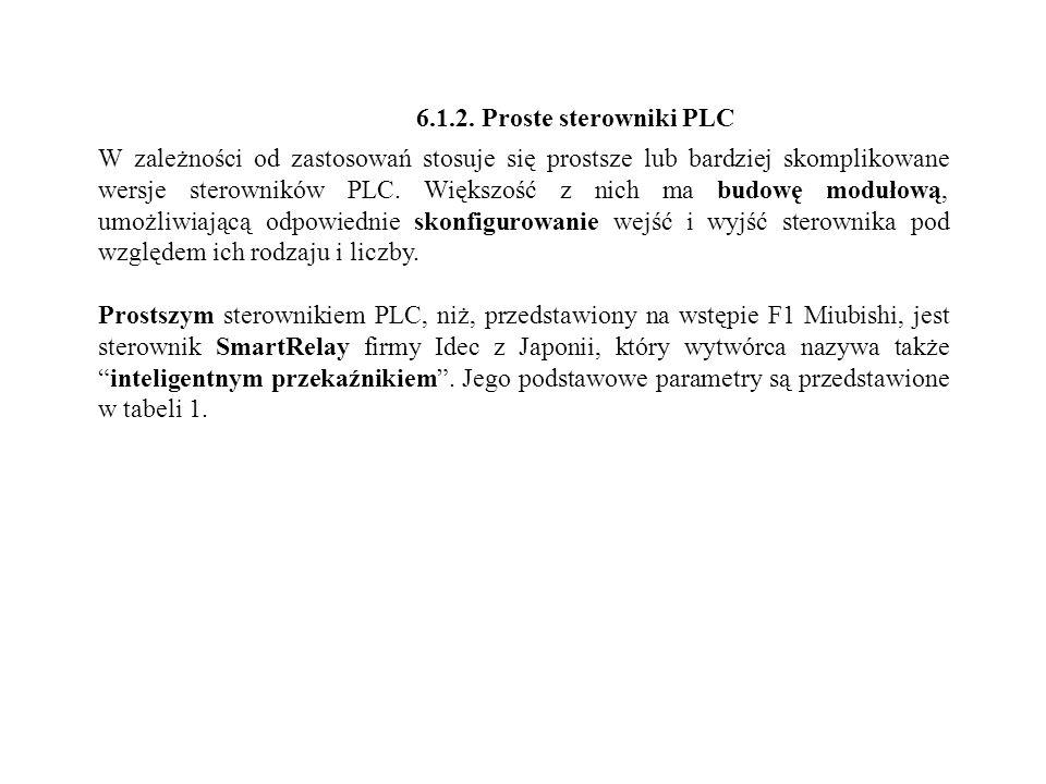 6.1.2. Proste sterowniki PLC W zależności od zastosowań stosuje się prostsze lub bardziej skomplikowane wersje sterowników PLC. Większość z nich ma bu