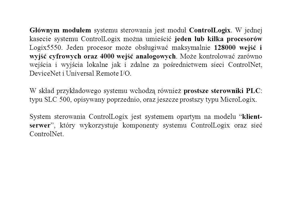 Głównym modułem systemu sterowania jest moduł ControlLogix. W jednej kasecie systemu ControlLogix można umieścić jeden lub kilka procesorów Logix5550.