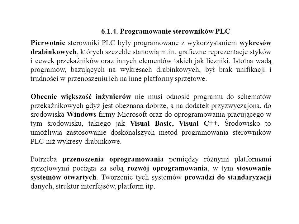 6.1.4. Programowanie sterowników PLC Pierwotnie sterowniki PLC były programowane z wykorzystaniem wykresów drabinkowych, których szczeble stanowią m.i