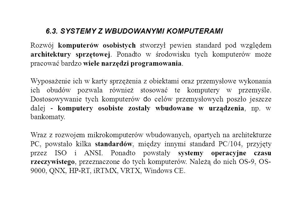 6.3. SYSTEMY Z WBUDOWANYMI KOMPUTERAMI Rozwój komputerów osobistych stworzył pewien standard pod względem architektury sprzętowej. Ponadto w środowisk