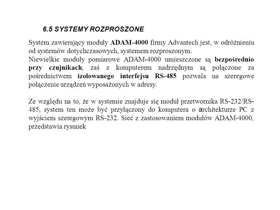 6.5 SYSTEMY ROZPROSZONE System zawierający moduły ADAM-4000 firmy Advantech jest, w odróżnieniu od systemów dotychczasowych, systemem rozproszonym. Ni