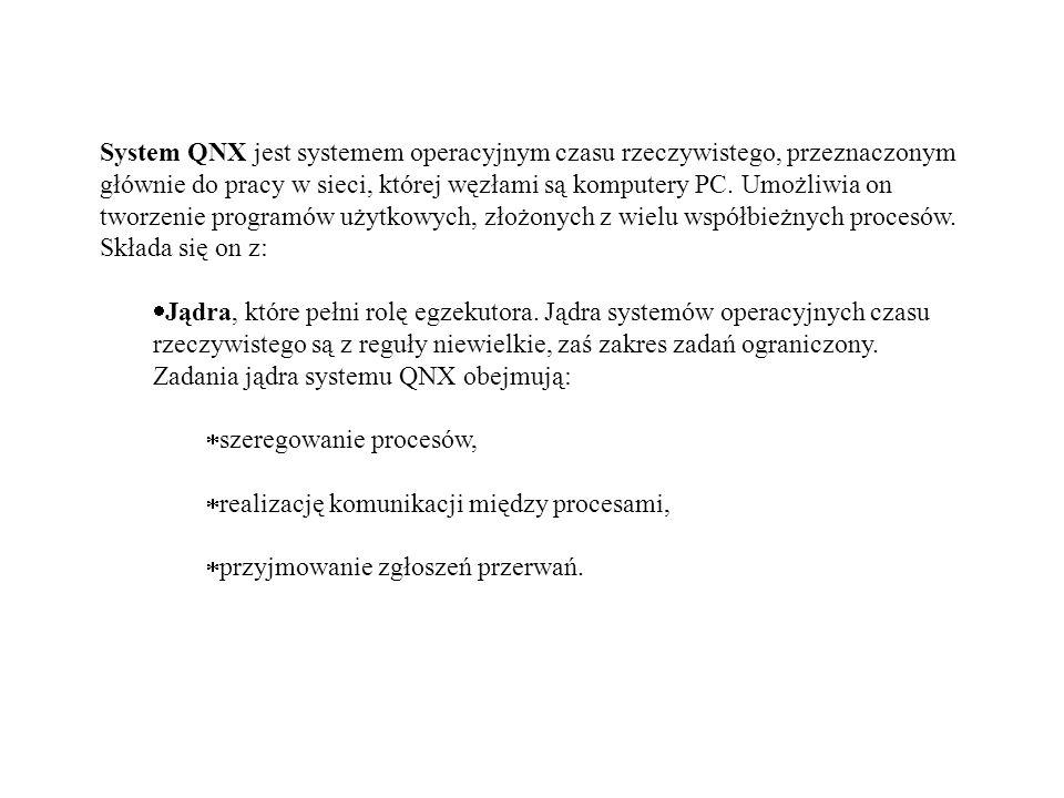 System QNX jest systemem operacyjnym czasu rzeczywistego, przeznaczonym głównie do pracy w sieci, której węzłami są komputery PC. Umożliwia on tworzen