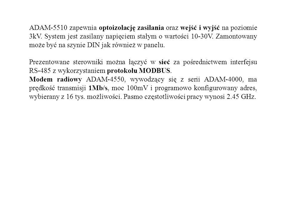 ADAM-5510 zapewnia optoizolację zasilania oraz wejść i wyjść na poziomie 3kV. System jest zasilany napięciem stałym o wartości 10-30V. Zamontowany moż