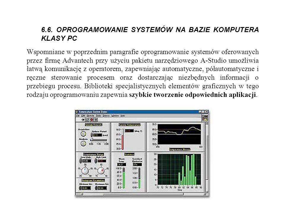 6.6. OPROGRAMOWANIE SYSTEMÓW NA BAZIE KOMPUTERA KLASY PC Wspomniane w poprzednim paragrafie oprogramowanie systemów oferowanych przez firmę Advantech
