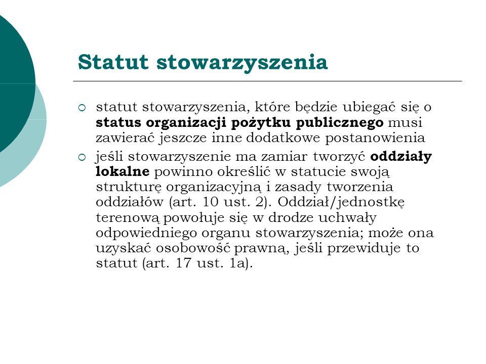 Statut stowarzyszenia statut stowarzyszenia, które będzie ubiegać się o status organizacji pożytku publicznego musi zawierać jeszcze inne dodatkowe po