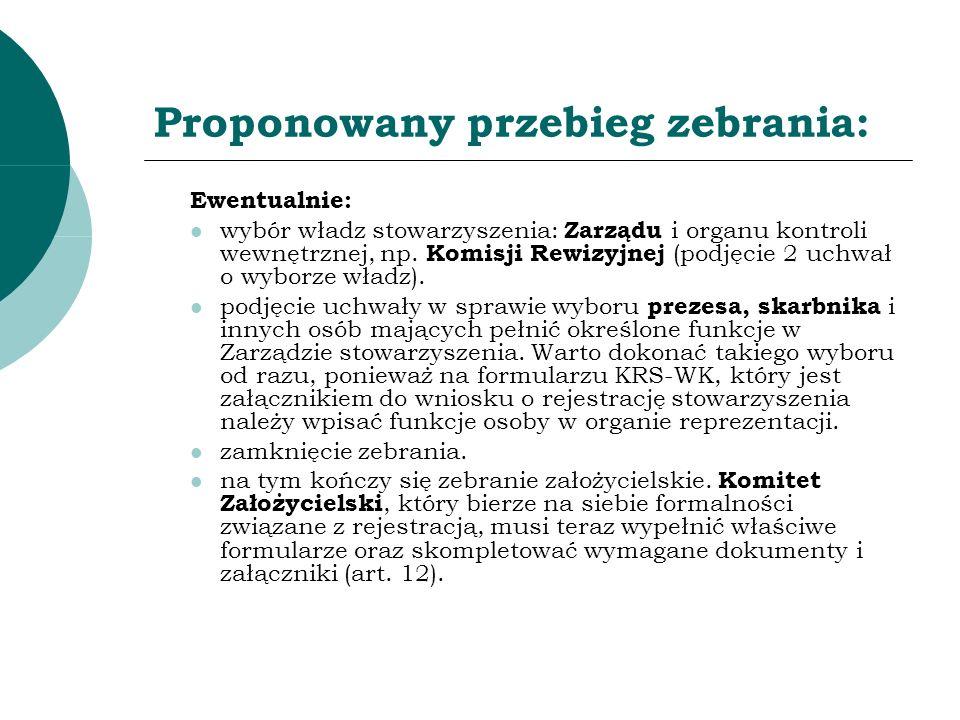 Proponowany przebieg zebrania: Ewentualnie: wybór władz stowarzyszenia: Zarządu i organu kontroli wewnętrznej, np. Komisji Rewizyjnej (podjęcie 2 uchw