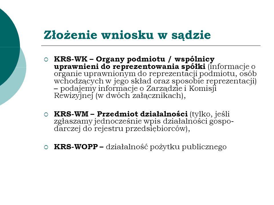 Złożenie wniosku w sądzie KRS-WK – Organy podmiotu / wspólnicy uprawnieni do reprezentowania spółki (informacje o organie uprawnionym do reprezentacji