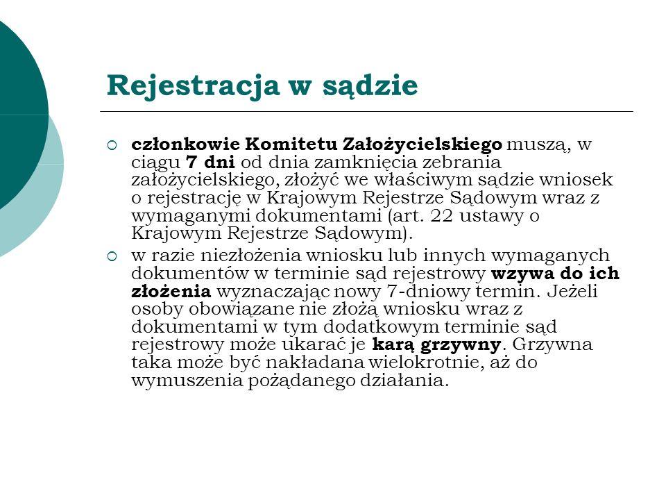 Rejestracja w sądzie członkowie Komitetu Założycielskiego muszą, w ciągu 7 dni od dnia zamknięcia zebrania założycielskiego, złożyć we właściwym sądzi
