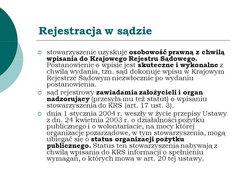Rejestracja w sądzie stowarzyszenie uzyskuje osobowość prawną z chwilą wpisania do Krajowego Rejestru Sądowego. Postanowienie o wpisie jest skuteczne