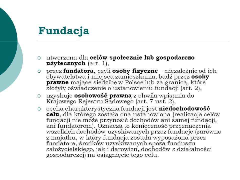 Fundacja utworzona dla celów społecznie lub gospodarczo użytecznych (art. 1), przez fundatora, czyli osoby fizyczne – niezależnie od ich obywatelstwa