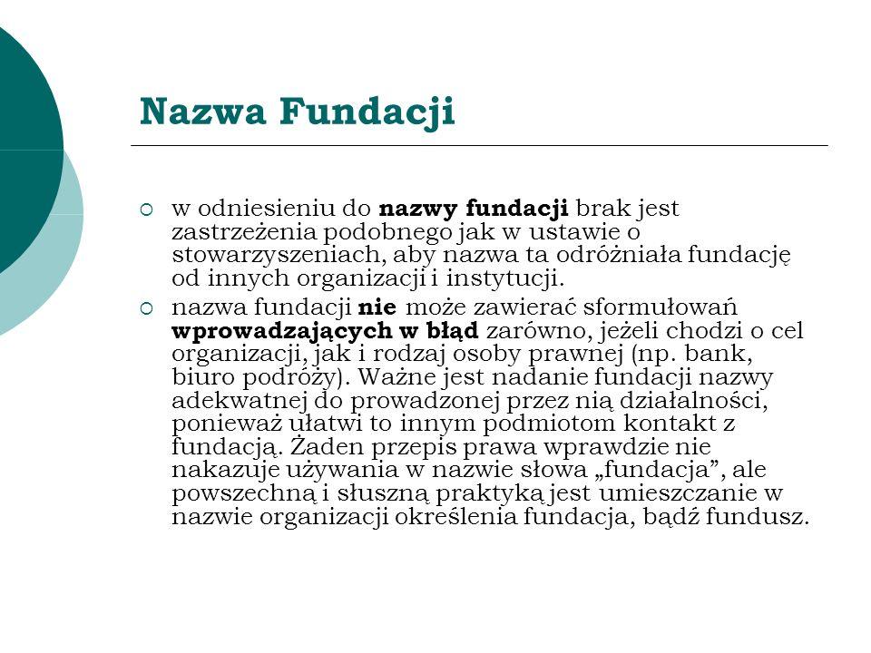Nazwa Fundacji w odniesieniu do nazwy fundacji brak jest zastrzeżenia podobnego jak w ustawie o stowarzyszeniach, aby nazwa ta odróżniała fundację od