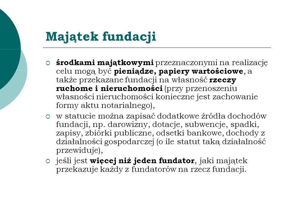 Majątek fundacji środkami majątkowymi przeznaczonymi na realizację celu mogą być pieniądze, papiery wartościowe, a także przekazane fundacji na własno