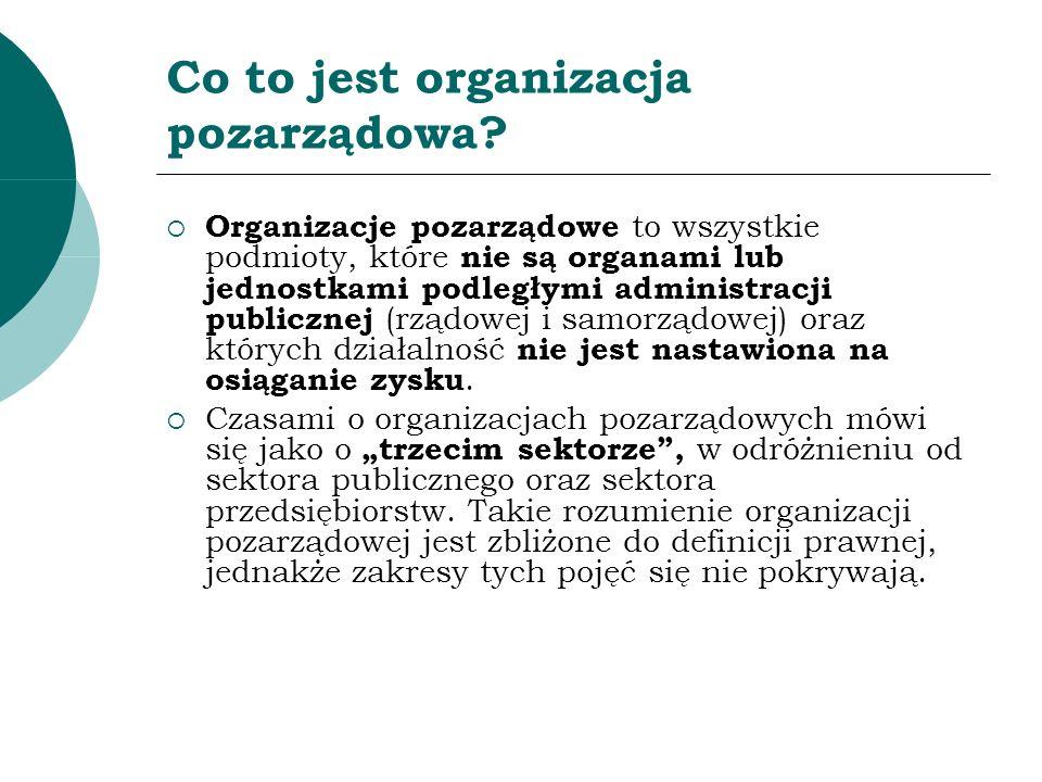 Co to jest organizacja pozarządowa? Organizacje pozarządowe to wszystkie podmioty, które nie są organami lub jednostkami podległymi administracji publ