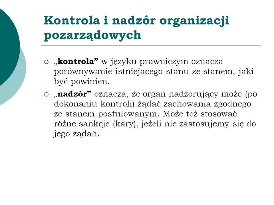Kontrola i nadzór organizacji pozarządowych kontrola w języku prawniczym oznacza porównywanie istniejącego stanu ze stanem, jaki być powinien. nadzór