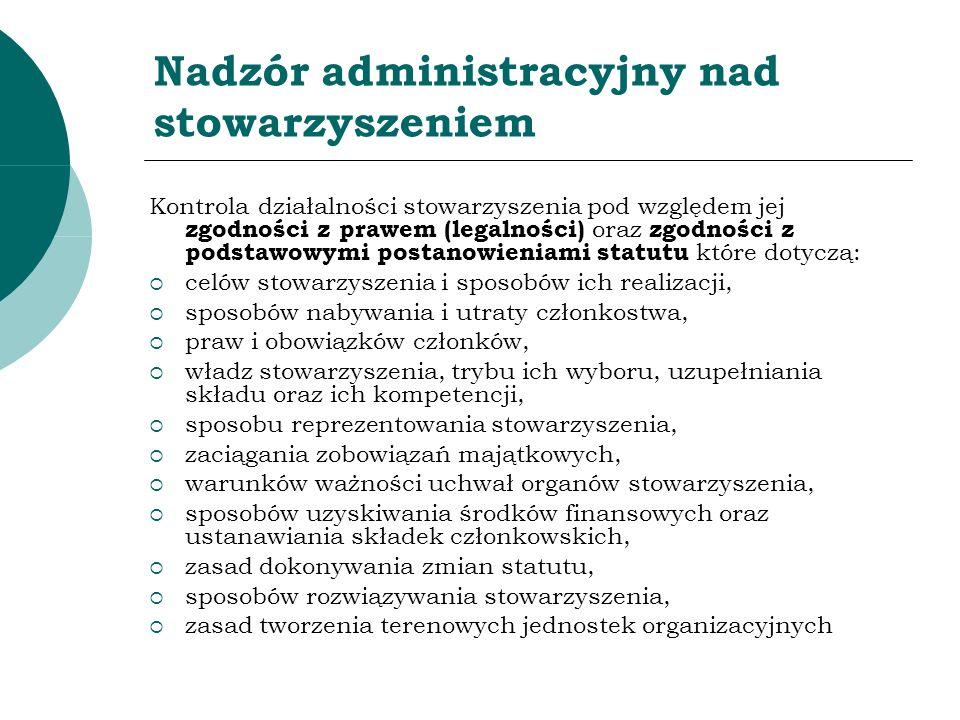 Nadzór administracyjny nad stowarzyszeniem Kontrola działalności stowarzyszenia pod względem jej zgodności z prawem (legalności) oraz zgodności z pods