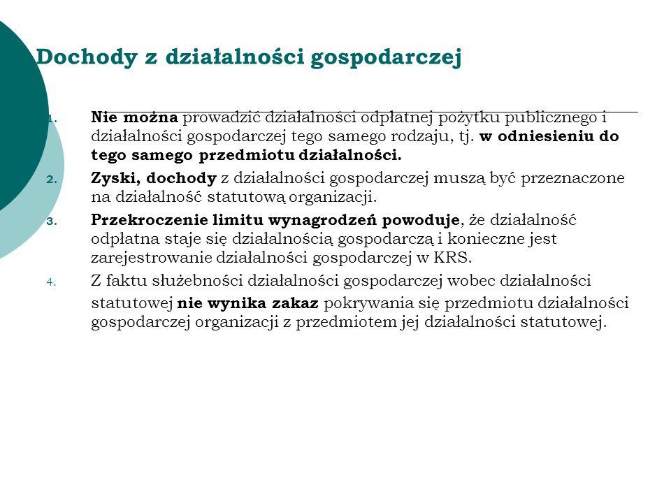 Dochody z działalności gospodarczej 1. Nie można prowadzić działalności odpłatnej pożytku publicznego i działalności gospodarczej tego samego rodzaju,