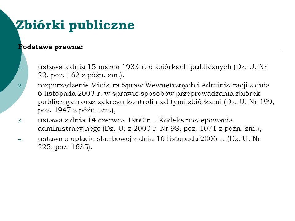 Zbiórki publiczne Podstawa prawna: 1. ustawa z dnia 15 marca 1933 r. o zbiórkach publicznych (Dz. U. Nr 22, poz. 162 z późn. zm.), 2. rozporządzenie M
