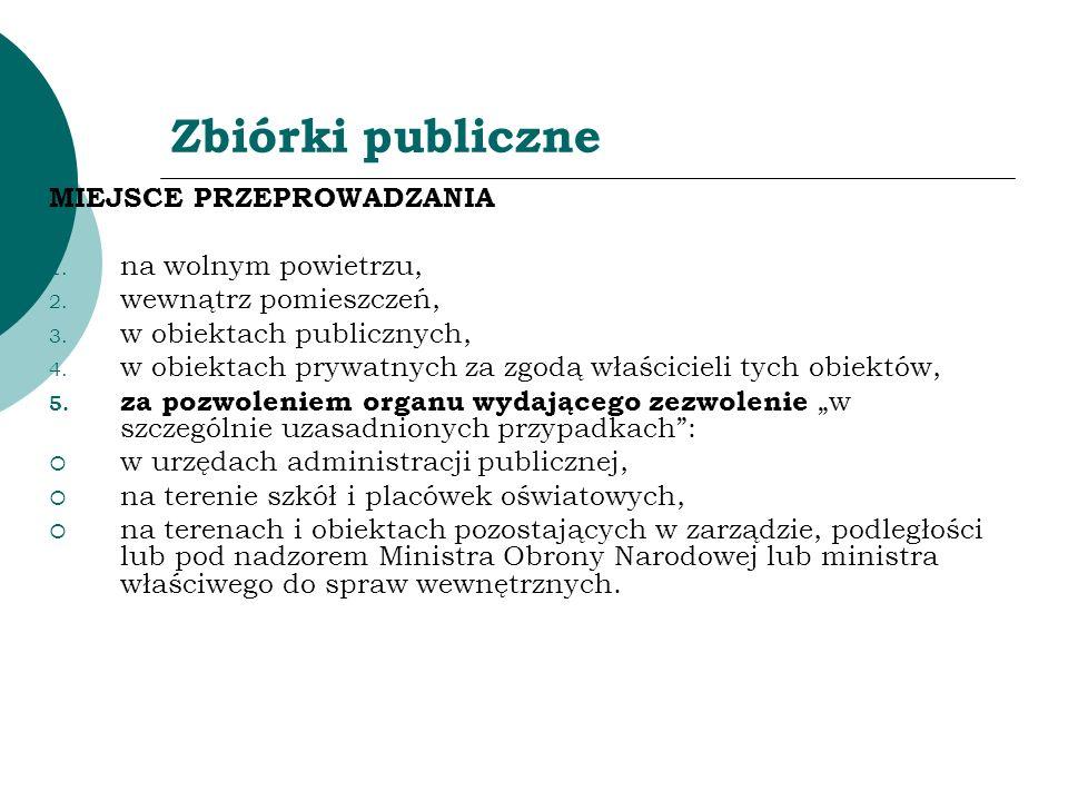 Zbiórki publiczne MIEJSCE PRZEPROWADZANIA 1. na wolnym powietrzu, 2. wewnątrz pomieszczeń, 3. w obiektach publicznych, 4. w obiektach prywatnych za zg
