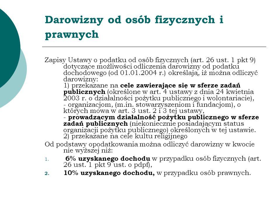 Darowizny od osób fizycznych i prawnych Zapisy Ustawy o podatku od osób fizycznych (art. 26 ust. 1 pkt 9) dotyczące możliwości odliczenia darowizny od
