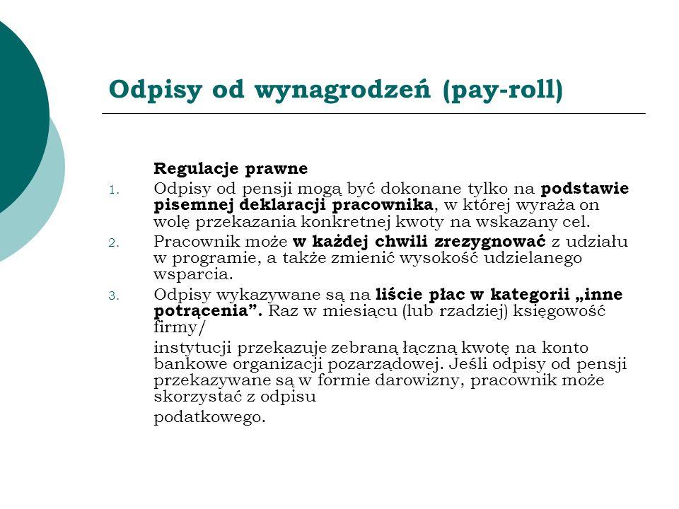 Odpisy od wynagrodzeń (pay-roll) Regulacje prawne 1. Odpisy od pensji mogą być dokonane tylko na podstawie pisemnej deklaracji pracownika, w której wy